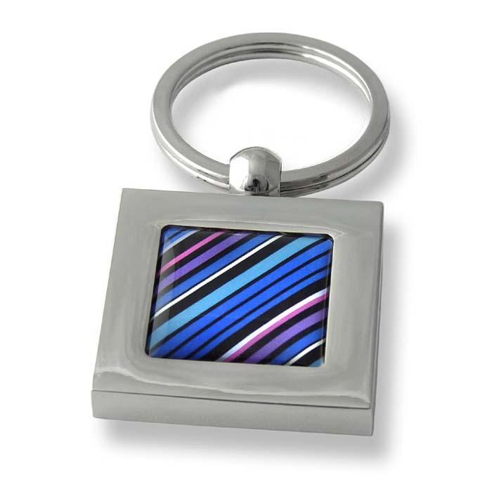 70S Tie Diagonal Stripes Aqua Pink Square Keyring