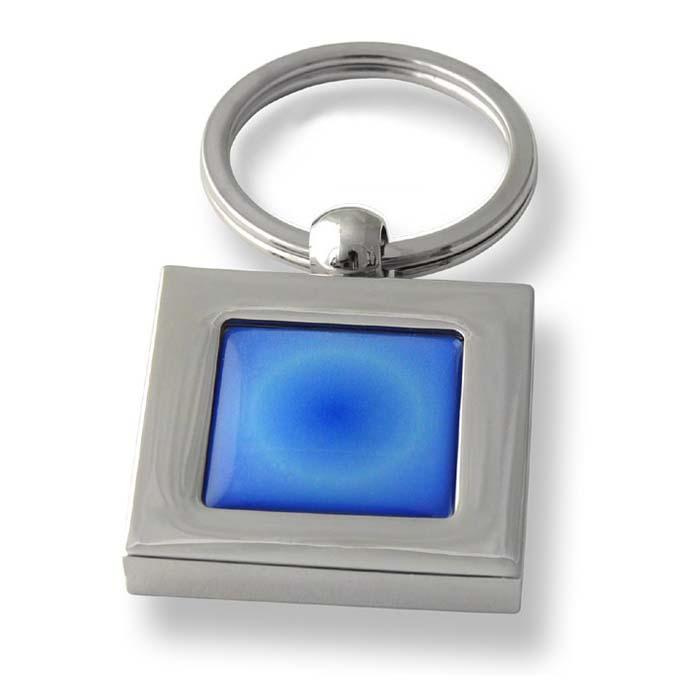 Radiant Blue Square Keyring