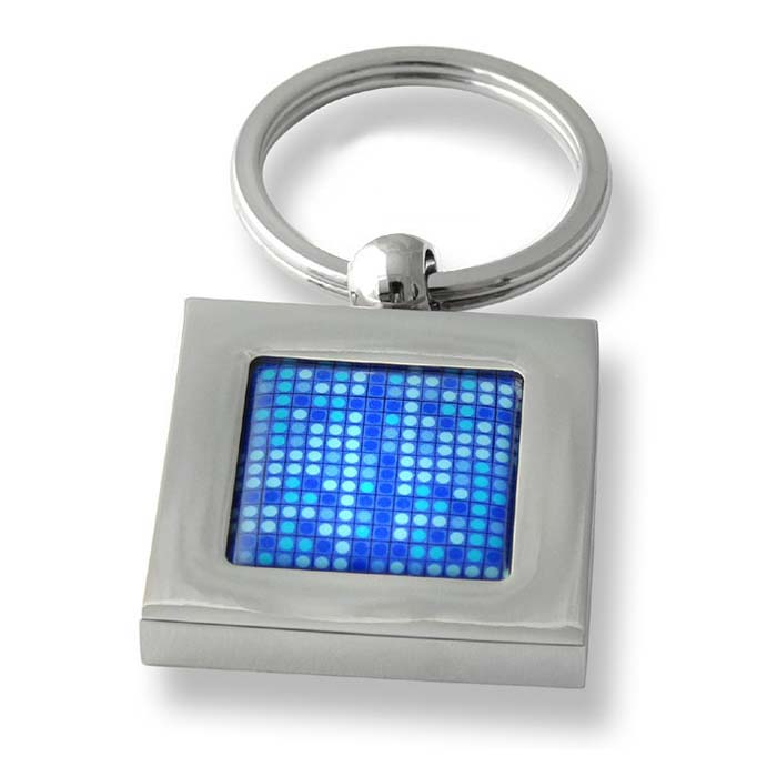 Blue Dot Mosaic Square Keyring