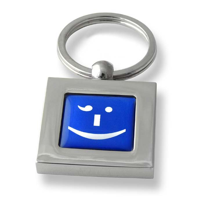 Cheeky Winker Text Speak Blue Square Keyring