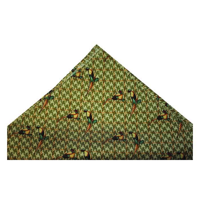 Tweed Moss Green Pheasants Hankie