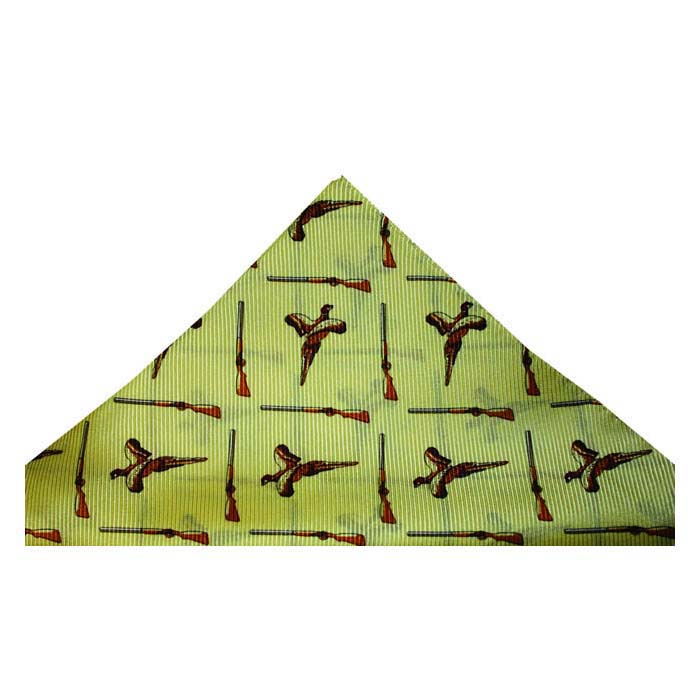 Taupe Flying Pheasant And Shotgun Hankie