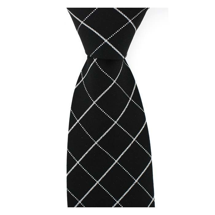 Black And Silver Large Cross Tie