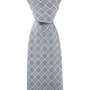 Silver Diamond Chequered Tie