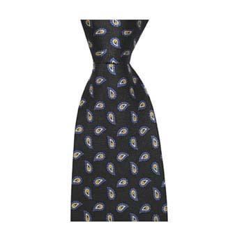 Navy & White Small Paisley Tie