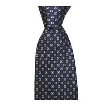 Blue And Grey Flower Patterned Tie