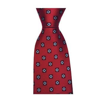 Red And Blue Square Flower Spot Tie