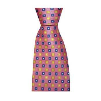 Pink Square Flower Tie