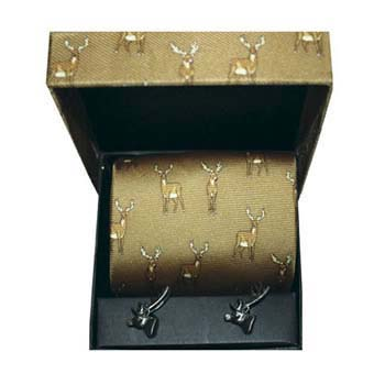 Brown Stag Silk Tie And Cufflinks Box Set