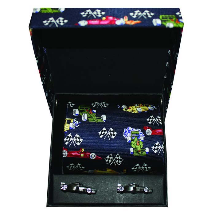 Racing Cars Cufflink And Tie Gift Box