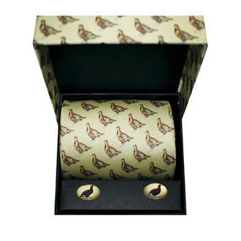 Red Grouse Silk Tie And Cufflinks Box Set