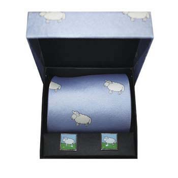 Blue Sheep Silk Tie And Cufflinks Box Set