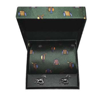 Green Racing Colours Silk Tie And Cufflinks Box Set