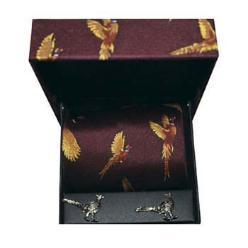 Red Pheasant Silk Tie And Cufflinks Box Set