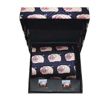 Navy Pig Patterned Silk Tie And Cufflinks Box Set