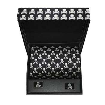 Skull And Cross Bones Cufflink And Tie Gift Box