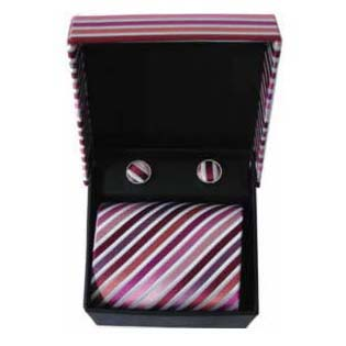 Pink And Purple Stripe Cufflinks And Tie Gift Box