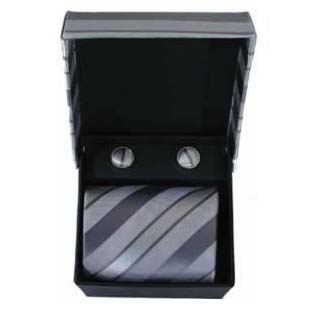 Grey Diagonal Stripe Cufflinks And Tie Gift Box