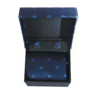 Blue Spot Cufflinks And Tie Gift Box