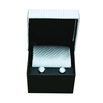 White Cufflinks And Tie Gift Box