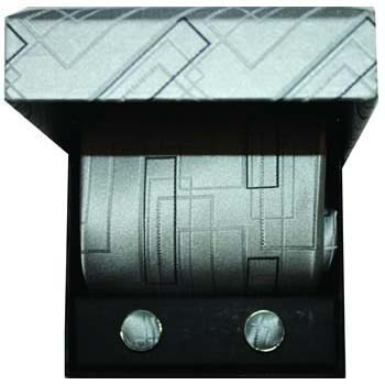 Grey Geometric Cufflinks And Tie Gift Box