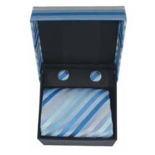 Light Blue Check Cufflinks And Tie Gift Box