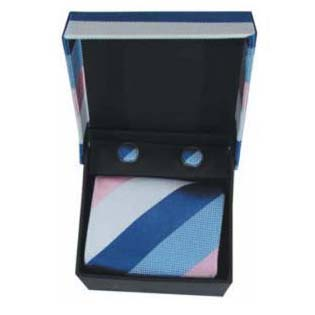 Blue White And Pink Stripe Cufflinks And Tie Gift Box