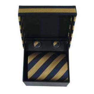 Navy Blue And Gold Striped Tie And Cufflink Box Set