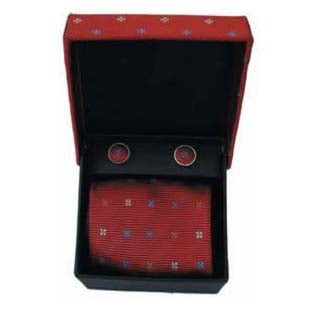 Red And Blue Square Spot Cufflinks And Tie Gift Box