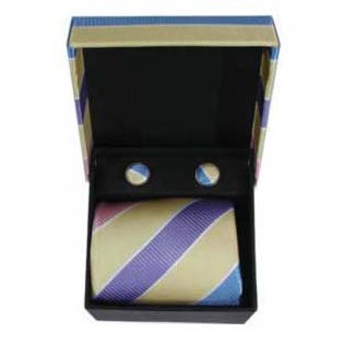 Purple And Yellow Thick Stripe Cufflinks And Tie Gift Box