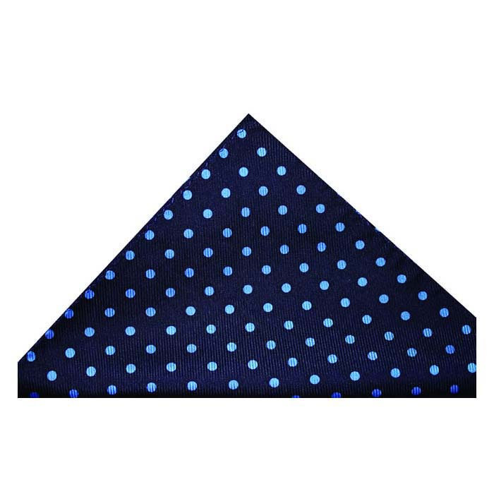 Navy Blue And Blue Medium Polka Dot Silk Hankie