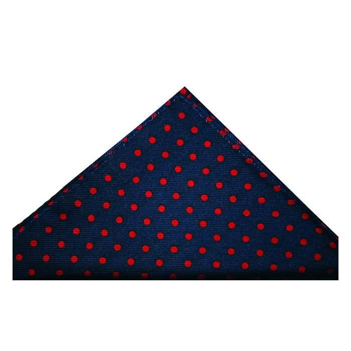 Navy Blue And Red Medium Polka Dot Silk Hankie