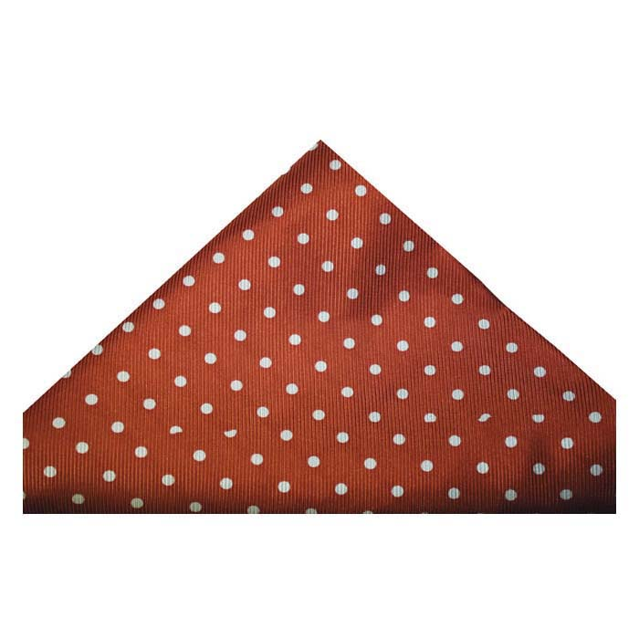 Burnt Orange And White Medium Polka Dot Silk Hankie