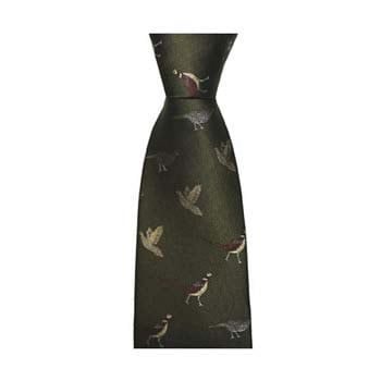 Dark Green Gun Birds Tie