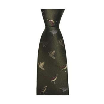 Dark Green Gun Birds Tie
