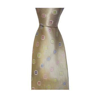 Tan And Multi Coloured Diamond Spot Tie