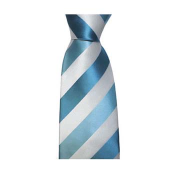 Turquoise And White Solid Stripe Tie