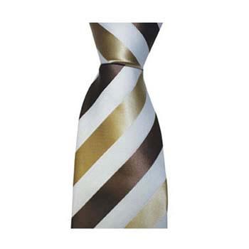 Tan And White Solid Stripe Tie