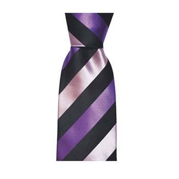 Purple And Black Solid Stripe Tie