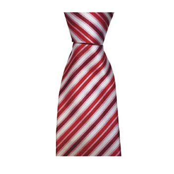Red Pink And White Thin Check Tie