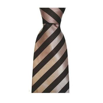 Salmon Pink And Aubergine0 Solid Stripe Tie