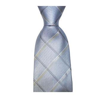 Silver And Tan Check Tie