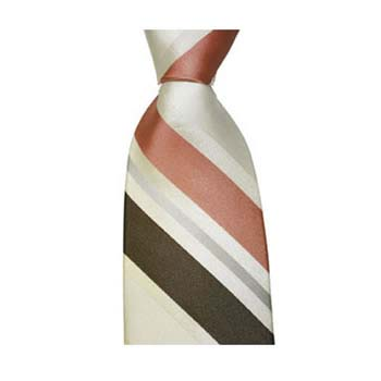 Cream And Brown Striped Tie
