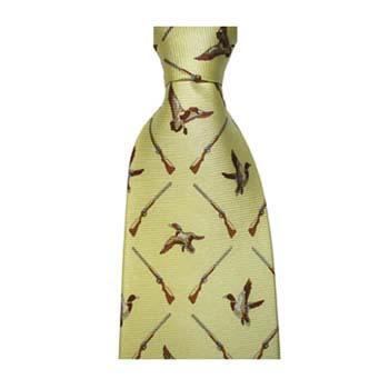 Yellow Flying Duck And Shotgun Tie
