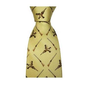 Yellow Flying Pheasant And Shotgun Tie