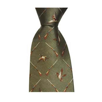Green Flying Duck And Shotgun Tie
