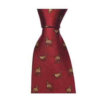 Red Gun Dog Patterned Tie