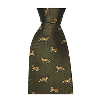Green Fox Patterned Tie