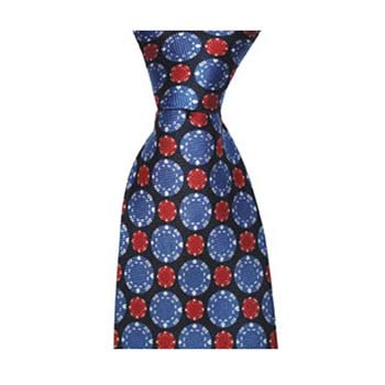 Blue And Red Poker Chip Tie