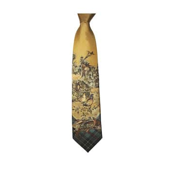 Tweed And Yellow Country Pheasant Scene Tie